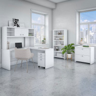 Bush Echo L-Shaped Desk with  Hutch, File Storage and Bookcase - ECH028PWSU