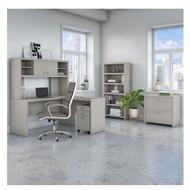 Bush Echo L-Shaped Desk with  Hutch, File Storage and Bookcase - ECH028GSSU