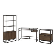 "Bush  Anthropology 48"" Desk w Bookcase and Lateral File Package - ATH005RB"