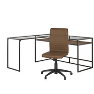 "Bush  Anthropology 60"" L-Shaped Desk with Mid-Back Chair Package - ATH024RB"
