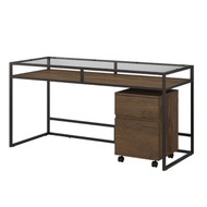 "Bush  Anthropology 60"" Desk with 2-Drawer Mobile File - ATH019RB"