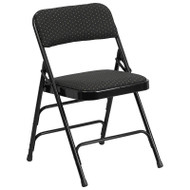 Flash Furniture Hercules Series Triple Braced & Double Hinged Black Patterned Fabric Metal Folding Chair (2-pack) - AW-MC309AF-BLK-GG