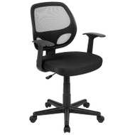 Flash Fundamentals Mid-Back Mesh Swivel Ergonomic Task Office Chair with Arms - LF-118P-T-BK-GG