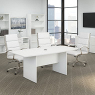 Bush Business Furniture 72W x 36D Boat Top Conference Table w Wood Base White - 99TB7236WH
