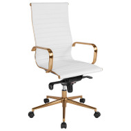 Flash Furniture High Back White Ribbed Upholstered Leather Executive Office Chair - BT-9826H-WH-GD-GG