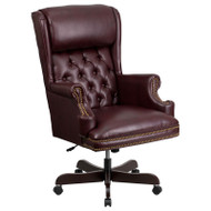 Flash Furniture High Back Traditional Tufted Burgundy LeatherSoft Executive Ergonomic Office Chair with Oversized Headrest & Arms - CI-J600-BY-GG