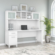 "Bush Furniture Somerset 72""W Desk with Hutch White - SET018WH"