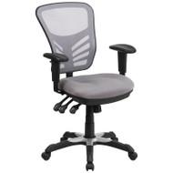 Flash Furniture Mid-Back Gray Mesh Multifunction Executive Swivel Ergonomic Office Chair - HL-0001-GY-GG