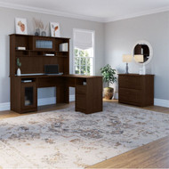 """Bush Cabot Collection L-Shaped Desk 60"""" Package Modern Walnut - CAB005MW"""