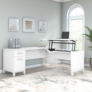 Bush Furniture Somerset 72W 3 Position Sit to Stand L Shaped Desk White - SET014WH