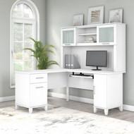 Bush Furniture Somerset 60W L Shaped Desk with Hutch White -  SET002WH