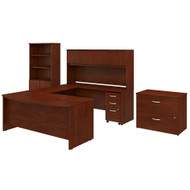 Bush Business Furniture Studio C 72W x 36D U Shaped Desk with Hutch, Bookcase and File Cabinets Hansen Cherry - STC001HCSU