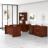 Bush Business Furniture Studio C 60W x 36D U Shaped Desk with Bookcase and File Cabinets Hansen Cherry - STC002HCSU