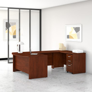 Bush Business Furniture Studio C 60W x 36D U Shaped Desk with Mobile File Cabinet Hansen Cherry - STC005HCSU