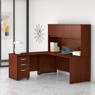 Bush Business Furniture Studio C 72W x 30D L Shaped Desk with Hutch, Mobile File Cabinet, and 42W Return Hansen Cherry - STC006HCSU