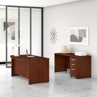 Bush Business Furniture Studio C 60W x 36D Bow Front Desk and Credenza with Mobile File Cabinets Hansen Cherry - STC010HCSU