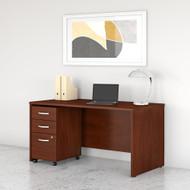 Bush Business Furniture Studio C 60W x 30D Office Desk with Mobile File Cabinet Hansen Cherry - STC014HCSU
