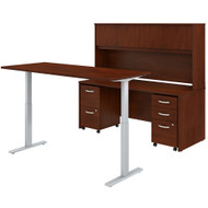 Bush Business Furniture Studio C 72W Electric Height Adjustable Standing Desk with Credenza and Storage Hansen Cherry - STC016HCSU