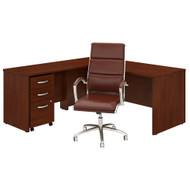 Bush Business Furniture Studio C L-Shaped Desk with Mobile File Cabinet and High Back Chair Hansen Cherry - STC029HCSU