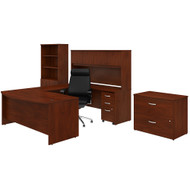 Bush Business Furniture Studio C U-Shaped Desk with Storage and High Back Office Chair Hansen Cherry - STC034HCSU