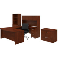 Bush Business Furniture Studio C U Shaped Desk with Storage and Mid Back Office Chair Hansen Cherry - STC036HCSU