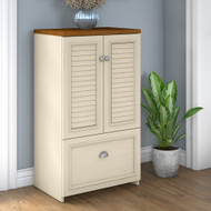 Bush Furniture Fairview Shoe Storage Cabinet with Doors Antique White- FV020AW