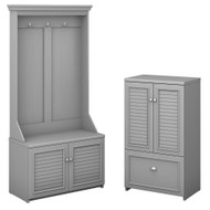Bush Furniture Fairview Hall Tree with Storage Bench and Shoe Cabinet Cape Cod Gray- FV021CG