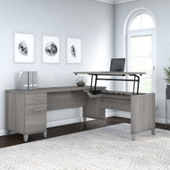 Bush Furniture Somerset 72W 3 Position Sit to Stand L Shaped Desk Platinum Gray - SET014PG
