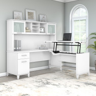 """Bush Furniture Somerset 72""""W Sit-to-Stand 3-Position L-Shaped Desk with Hutch White - SET015WH"""