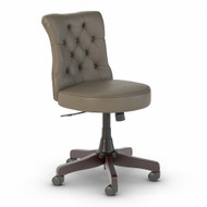 Bush Furniture Ironworks Mid Back Tufted Office Chair Washed Gray Leather - IW025WG