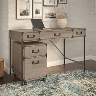 Bush Furniture Ironworks 48W Writing Desk with 2 Drawer Mobile File Cabinet Restored Gray - IW001RTG