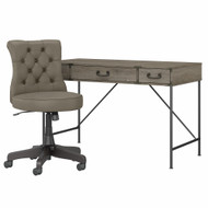 Bush Furniture Ironworks 48W Writing Desk with Drawers and Mid Back Tufted Chair Restored Gray - IW026RTG