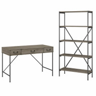 Bush Furniture Ironworks 48W Writing Desk with Drawers and 5 Shelf Etagere Bookcase Restored Gray - IW008RTG