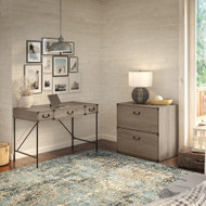Bush Furniture Ironworks 48W Writing Desk with 2 Drawer Lateral File Cabinet Restored Gray - IW003RTG