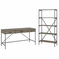 Bush Furniture Ironworks 60W Writing Desk with Drawers and 5 Shelf Etagere Bookcase Restored Gray - IW035RTG