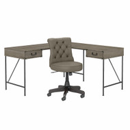 Bush Furniture Ironworks 60W L-Shaped Writing Desk with Mid Back Tufted Office Chair Restored Gray - IW033RTG