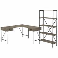 Bush Furniture Ironworks 60W L-Shaped Writing Desk with 5 Shelf Etagere Bookcase Restored Gray - IW029RTG