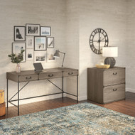 Bush Furniture Ironworks 60W Writing Desk with 2 Drawer Lateral File Cabinet Restored Gray - IW014RTG