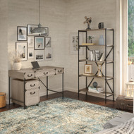 Bush Furniture Ironworks 48W Writing Desk with Mobile File Cabinet and 5 Shelf Bookcase Restored Gray - IW010RTG