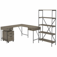 Bush Furniture Ironworks 60W L-Shaped Writing Desk with Mobile File Cabinet and Bookcase Restored Gray - IW030RTG