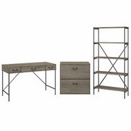 Bush Furniture Ironworks 48W Writing Desk with Lateral File Cabinet and 5 Shelf Bookcase Restored Gray - IW009RTG