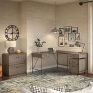 Bush Furniture Ironworks 60W L-Shaped Writing Desk with File Cabinets Restored Gray - IW032RTG
