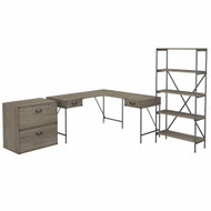 Bush Furniture Ironworks 60W L-Shaped Writing Desk with Lateral File Cabinet and Bookcase Restored Gray - IW031RTG