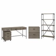 Bush Furniture Ironworks 60W Writing Desk with File Cabinets, 5-Shelf Bookcase Restored Gray - IW036RTG