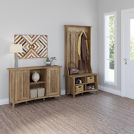 Bush Furniture Salinas Entryway Storage Set with Hall Tree, Shoe Bench, and Accent Cabinet Reclaimed Pine - SAL008RCP