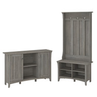 Bush Furniture Salinas Entryway Storage Set with Hall Tree, Shoe Bench, and Accent Cabinet Driftwood Gray - SAL008DG