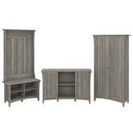 Bush Furniture Salinas Entryway Storage Set with Hall Tree , Shoe Bench, and Accent Cabinets Driftwood Gray - SAL016DG