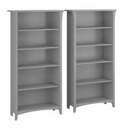 Bush Furniture Salinas Tall 5 Shelf Bookcase - Set of 2 Cape Cod Gray - SAL036CG
