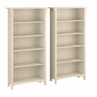 Bush Furniture Salinas Tall 5 Shelf Bookcase - Set of 2 Antique White - SAL036AW