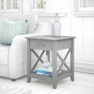 Bush Key West End Table with Storage Cape Cod Gray - KWT120CG-03